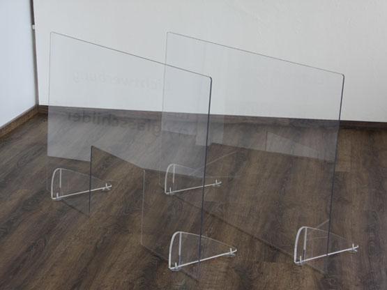 Thekenaufsteller aus Acrylglas / Schutzwände
